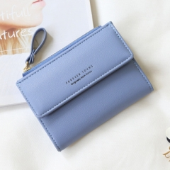 Wallet Fashion Lady Portable Multifunction Short Solid Color Change Purse Hot Female Clutch Carteras blue one size