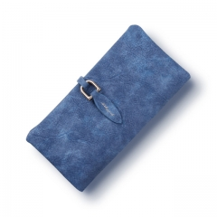 Women leather Leaf Long Wallet Female Coin Purse Change Clasp Purse Money Bag Card Holders blue one size