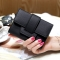 Luxury Soft Leather Women Hasp Wallet Fashion Tri-Folds Clutch For Girls Coin Purse Card Holders black one size