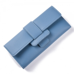 Leather Hasp Tri-Folds Wallet Portable Multifunction Long Change Purse Hot Female Coin Zipper Clutch blue one size