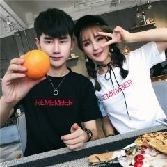 Summer Couple Clothes Lovers Short Sleeve Casual Tops Letter Print Preppy Style Couple T Shirts black s