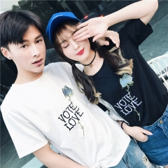 2018 Hot Summer Short Sleeve Casual T-Shirts Letter Printed White Black Cute Japan Couple T Shirt black s
