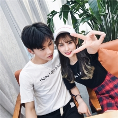 Matching Couple Clothes Lovers T-Shirts New 2018 Summer Short Sleeve Casual Letter Printed Top black s