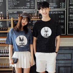 Couple Clothes Summer Short Sleeve Printed Tops Cute Sweet Casual Matching Korean Couple T Shirts black s