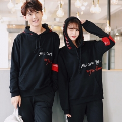 Matching Couple Clothes Lovers Hooded Sweatshirts New Hot Female Male Casual Letter Printed Tops black s