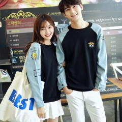 Lovers Couples Clothes Long Sleeve Patchwork Denim T-Shirt Loose Cute Korean Matching Couple T Shirt black s