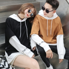 Couple Clothes Lovers Female Male Autumn Winter Outerwear Faux Two Piece Tops Letter Couple T Shirts black s