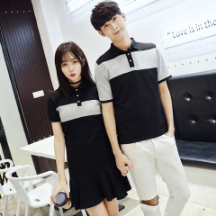 Couple T-Shirts Preppy Style Girls Cute Sweet Tops Cotton Slim Casual Matching Korean Couple T Shits black girl s