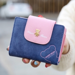 Lovely Bear Wallet Leather Small Change Clasp Purse Money Coin Card Holder Carteras Girl wallets blue one size