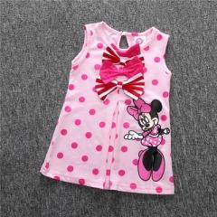 2018 Summer Minnie Dress Girl's Cute Sundress Kids Cotton Minnie Mouse Sleeveless Casual Dresses pink 80cm