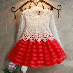 Toddler Girls Kids Lace Dress Long Sleeve Princess Dress Girls Clothes Autumn Children Wedding Dress red 100cm