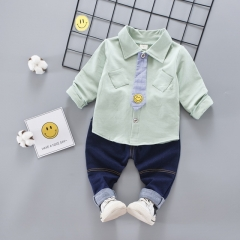 2018 Autumn Suits Boys and Girls Jeans Long Sleeved Shirts Suits Children's Shirts Ties Two Sets green s