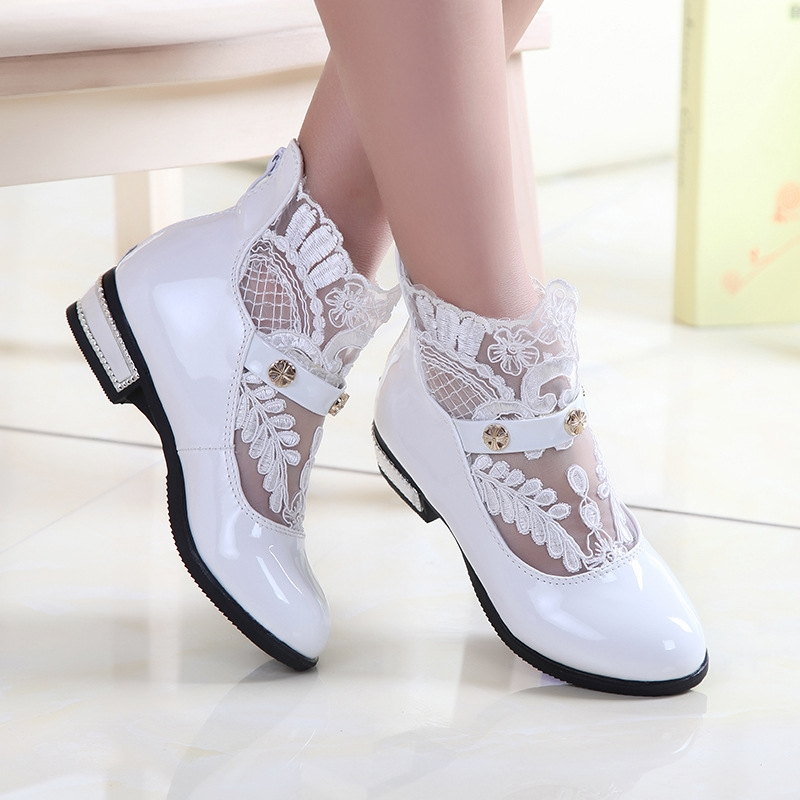 Girl Pu Leather Shoes For Girls Party Lace Dance Children Kids Shoes Princess Child Wedding Shoes White Uk9 5