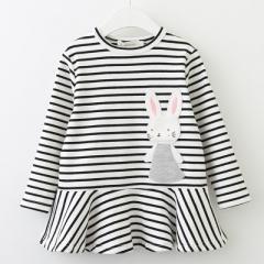 2018 Autumn Girls Dress Long Sleeve Bunny Rabbit Lace Strip Design Girls Children Clothing white 100cm