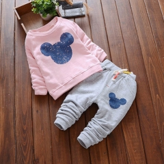 2018 Spring Baby Clothing Sets Cartoon Printing Sweatshirts+Casual Pants 2Pcs for Baby Clothes pink s
