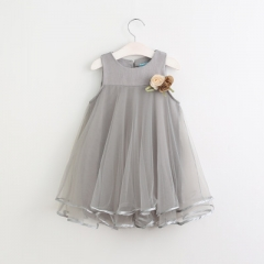 Girls Princess Dress Sleeveless Appliques Floral Design for Girls Clothes Party Dress 3-7Y Clothes grey 100cm