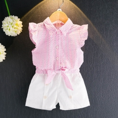 2018 Summer Casual Children Sets Flowers Blue T-shirt+ Pants Girls Clothing Sets Kids Summer Suit pink 3t