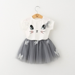 2018 Summer Casual Style Cartoon Kitten Printed T-Shirts+Net Veil Dress 2Pcs for Girls Clothes 2-6Y white 90cm