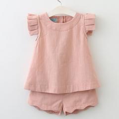 2018 Girls Clothing Sets Spring&Summer O-Neck Sleeveless Solid Kids Clothing Sets Children Clothing pink 100cm