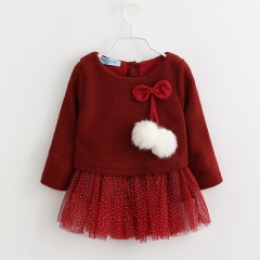 2018 Baby Girls Dress Winter Long-Sleeve Princess Dress Kids Clothes Children Bow Dresses For 6-18M red 70cm