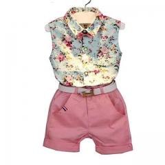 2018 Girls Sets Style Girl Clothing Sets Sleeveless Floral Print Design Vest+Shorts Kids Suit pink 100cm