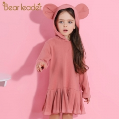 2018 Girls Dress Baby Girls Blouse Rabbit Ears Hooded Ruched Long Sleeve Children Clothing Dress pink 90cm
