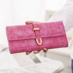 Leather Long Women Wallet Change Clasp Purse Money Coin Card Holders wallets Carteras Clutch Purse rose red one size