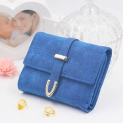 2018 Latest Leather Purse Women Wallet Fashion Girls Change Purse Clasp Purse Kids wallets blue one size