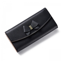 Women Bow Wallet Long Solid Simple Hasp Women Purse Female Wallet Clutch Lady Evening Bag Clutches black one size