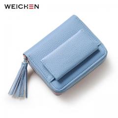 Pink Short Tassel Women's Wallets Lady Mini Purse Card Coin Purse Brand Hasp & Zipper 3 Fold Wallet blue one size