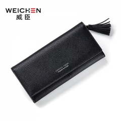 Tassels Wallet For Women Lady Long Clutch Wallets Female Change Purse Hasp Coin Pocket Card Holder black one size