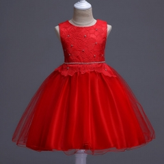 2018 Dresses Summer Brand Wedding Pageant Baby Girl Sleeveless Lace Princess Evening Party Dress red 110cm