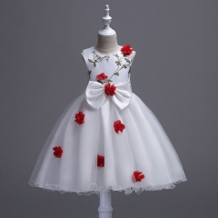 2018 Flower Girls Dress New Summer Princess Party Wedding Pageant Sleeveless Dresses For Girls red 110cm