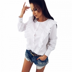 Autumn Ruffle Women Chiffon Blouse Tops Frill Off O-neck Long Sleeve Blouse Ladies Shirts Blusas white s