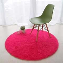 Fluffy Round Foam Rug Non Slip Shower Bedroom Carpet Yoga Fitness Mat for Adults and Children rose red 40cm