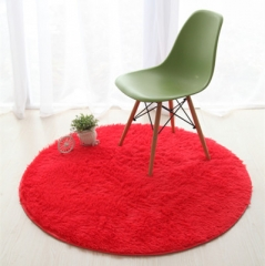 Fluffy Round Foam Rug Non Slip Shower Bedroom Carpet Yoga Fitness Mat for Adults and Children red 40cm