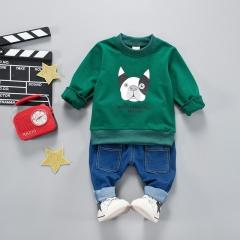 2018 active cartoon children baby girl boy clothing baby girl boy clothes Hoodies+pant clothing set green 80cm