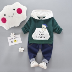 Baby Boys Girl Clothing Set For Kids Casual Letter Hooded Spring Children's Sports Suits Clothes green 80cm