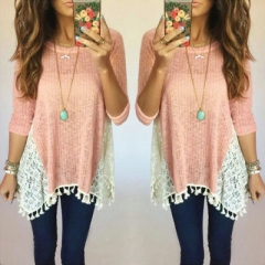 Autumn Casual Women Lace Blouse Tassel Half Sleeve Ladies Top Female Oversized Shirts Kimonos Blusas pink s
