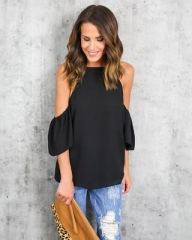 Sexy Off Shoulder Women Top Chiffon Blouse Shirt Women Ruffles Sleeve Summer Casual blusas black s