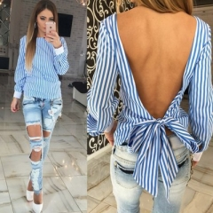 Sexy Backless Blouses Women Ladies Striped Long Sleeve blusas Shirts Strappy Bowknot Streetwear blue s