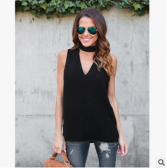 2018 Women Chiffon Blouse Solid Color Halter V Neck Shirt Women Summer Casual Sleeveless blusas black s