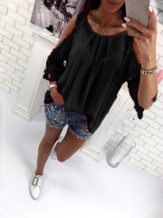 Hollow Out Sleeve Women Blouse Shirt Femme Off Shoulder Top Embroidery Casual Women Boho Ladies Top black s