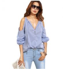 Sexy Off Shoulder Tops Long Sleeve Women Shirt V-Neck Lace Up blusas mujer Summer Casual Shirt Top blue s