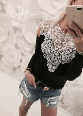 Sexy Oversized Cold Shoulder Tops Women Floral Lace Blouse Female See Through Long Sleeve Shirts black s