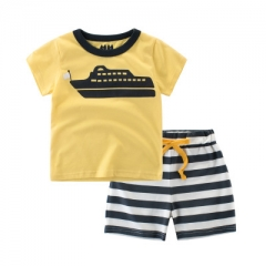 Boys Suits Cartoon Summer Boys Clothes T-shirts Shorts Children Clothing Set Cotton Kids Outfits yellow 90cm