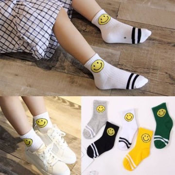 5pcs Socks Baby Cotton Fashion Smiling Face Casual Boys Girl All Match For