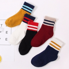 5Pairs/Set Two Stripes Sock Autumn Winter Cotton Blend Half Crew Tube Socks For Child Socks mixed color s