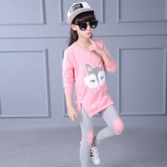 Children's clothing set girl long sleeve T-shirt + pants 2 pcs cartoon sportswear girls leisure set pink 120cm