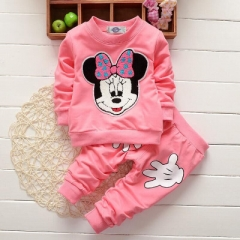 2018 Fasion Spring Lovely Baby Girls Minnie Mouse Tops Pants 2Pcs Costume Outfits Set 0-4Y pink 5
